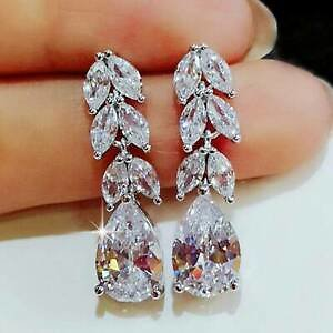 Gorgeous 925 Silver Drop Earrings for Women Jewelry White Sapphire A Pair/set ^