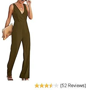 Womens Casual Jumpsuits V Neck Sleeveless High Waist Wide Leg Rompers Elegant Outfits