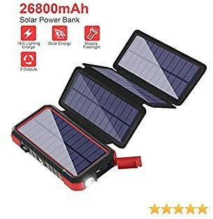 Solar Charger 26800mAh Solar Power Bank with 4 Solar Foldable Panels