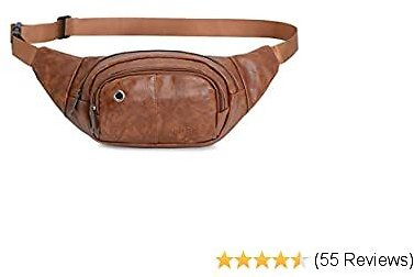 AuSion Fanny Pack Waist Bag, PU Leather Anti-Scratch Belt Bum Bag with 3 Zipper Pockets Large Capacity Crossbody Clutch Purse for All 4