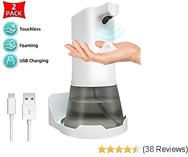 ZGO Automatic Hand Soap Dispenser,11.84oz Touchless Foaming Soap Dispenser with Wall Amount Base,USB Charging, Adjustable Volume Soap Pump,Suitable for Kitchen Sink,Bathroom,Toilet,Hotel(Pack of 2)