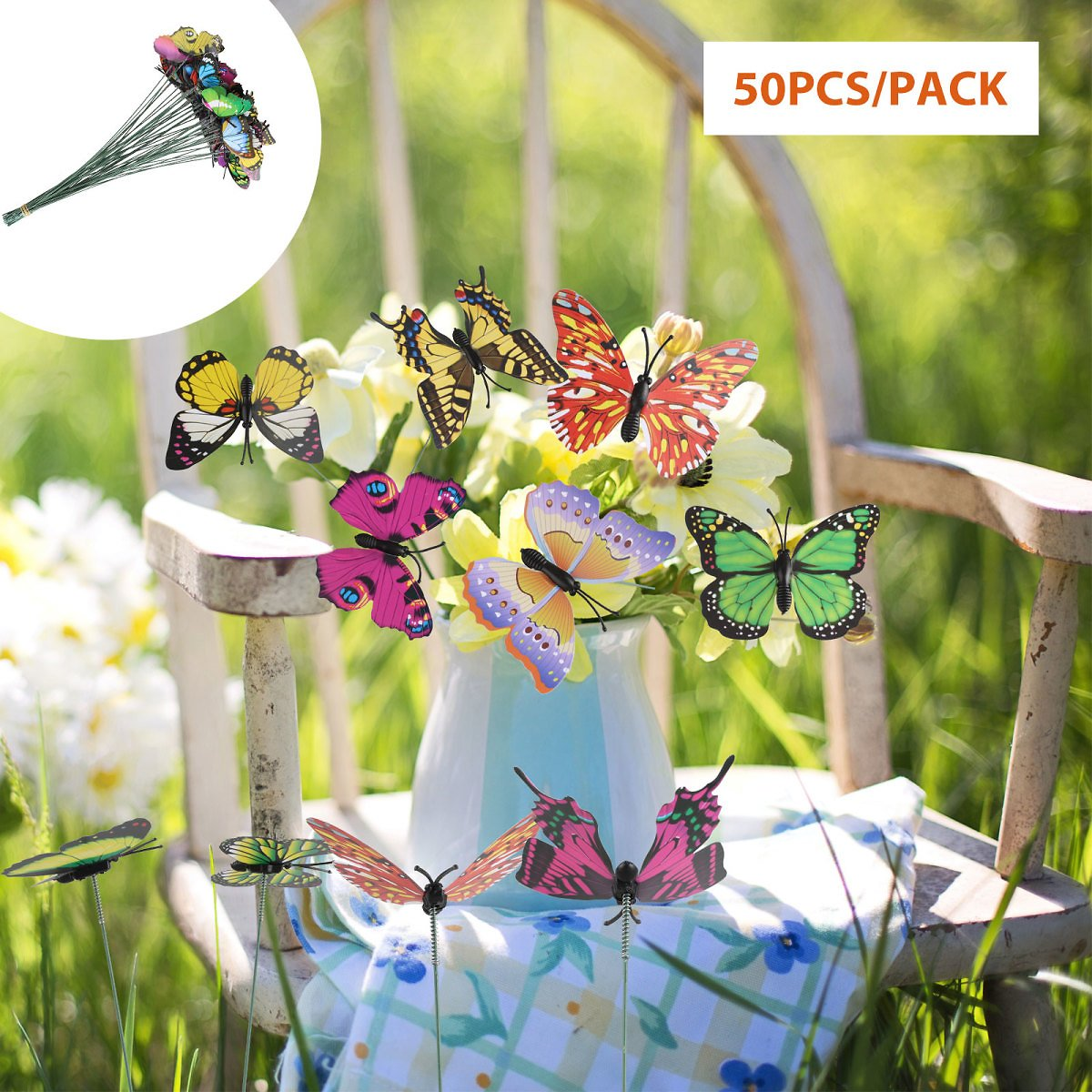 50Pcs Butterfly Stakes, PVC Waterproof Butterflies Stakes Garden Ornaments & Patio Decor Butterfly Party Supplies Yard Stakes Decorative for Outdoor Christmas Decorations