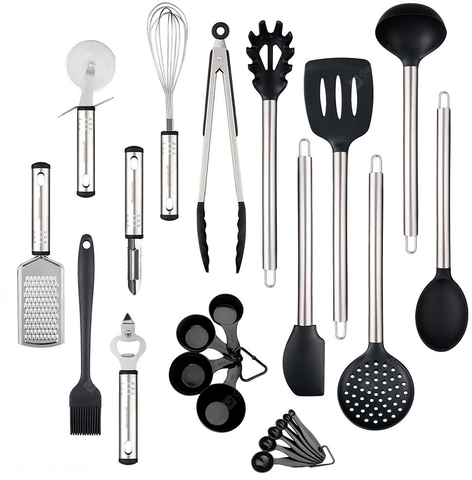 Kitchen Utensil Set Heat Resistant Silicone Heads Cooking Tools 23pcs Sale, Price & Reviews | Gearbest