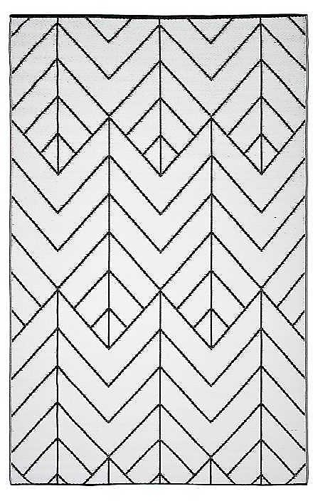 Black and White Geometric Outdoor Area Rug, 5x7