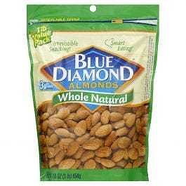 7-Pack Blue Diamond Almonds Whole Natural 16oz