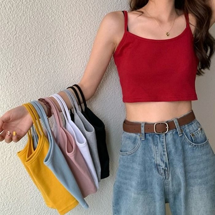 US $2.84 23% OFF New Fashion Women Sexy Solid Summer Camis Crop Top Female Casual Tank Tops Vest Sleeveless Cool Streetwear Club High Street Camis  - AliExpress