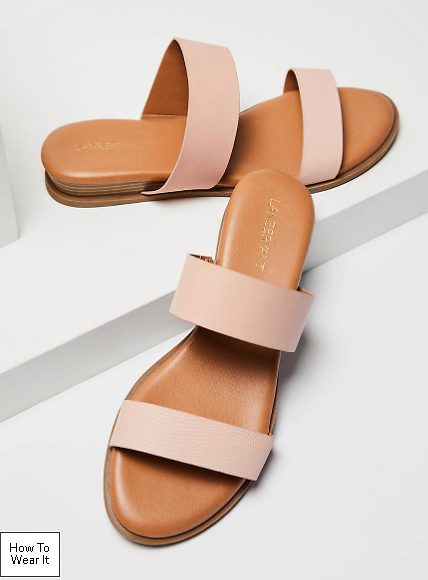 Textured Double Strap Slide Sandal - Blush | Lane Bryant
