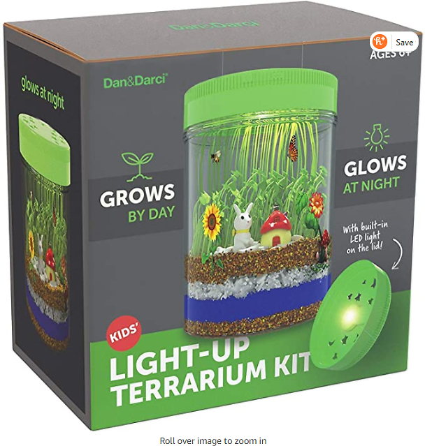 Light-up Terrarium Kit for Kids with LED Light On Lid - Create Your Own Customized Mini Garden in a Jar That Glows At Night - Sc