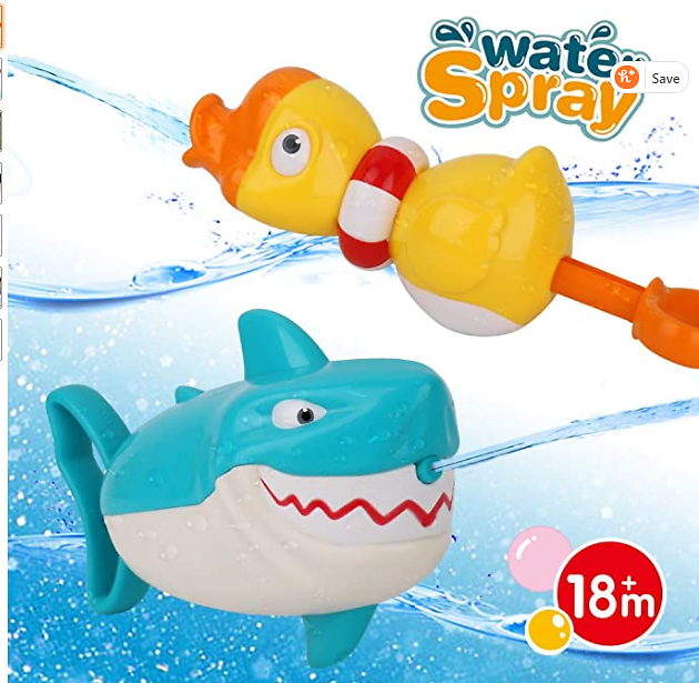 Dwi Dowellin Water Toys Shark Duck Shooter Blaster for Bath Bathtub Beach Water Table Pool Toys for Toddlers Kids Boys Girls Age