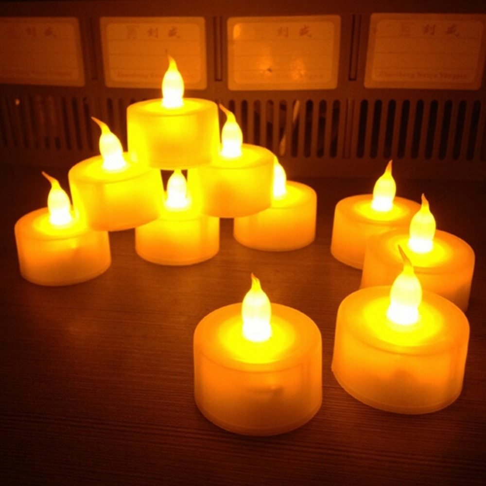 New Flickering 12 Pcs Flicker Light Flameless Led Candle Tealight Tea Candles Wedding Light Table Lamps for Bedroom