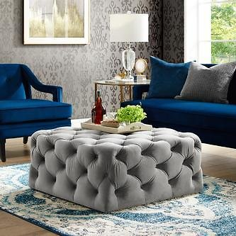 Inspired Home Inspired Home Allover Tufted Cube Cocktail Velvet Ottoman