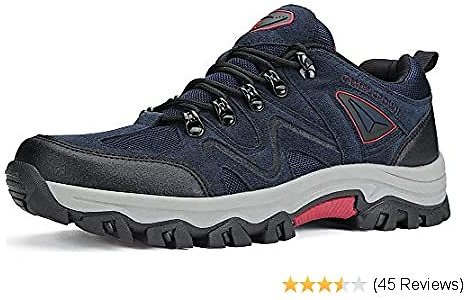 65% Off Mens Hiking Shoes Non-Slip Work Sneakers Low Top for Outdoor Trekking Walking Trails