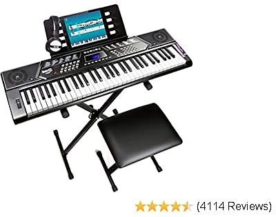 RockJam, 61-Key 61-Key Keyboard SuperKit with Stand, Stool, Headphones & Power Supply, KeyNote Stickers & Simply Piano App, 61 Key (RJ5061)
