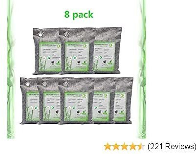 Activated Bamboo Charcoal Bags Air Purifying Bags Natural Air Purifier Freshener Neutralizer Filter Odor Remove Eliminator Deodorizer Moisture Absor for Home, Car, Closet, Bathroom (8 Pack, 200g Each)