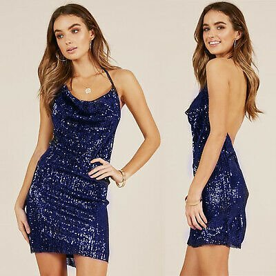 Women's Backless Sequin Halter V Neck Mini Dress Party Cocktail Club Sexy Dress