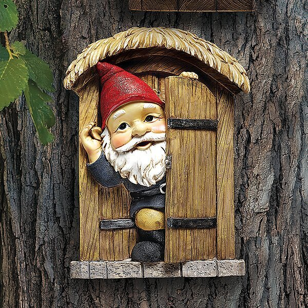 Knothole Door Gnome Garden Welcome Tree Wall Décor