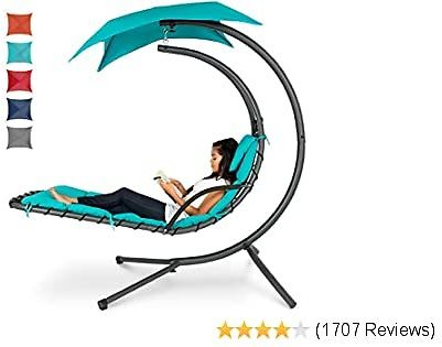Best Choice Products Hanging Curved Chaise Lounge Chair Swing for Backyard, Patio W/Pillow, Canopy, Stand - Teal