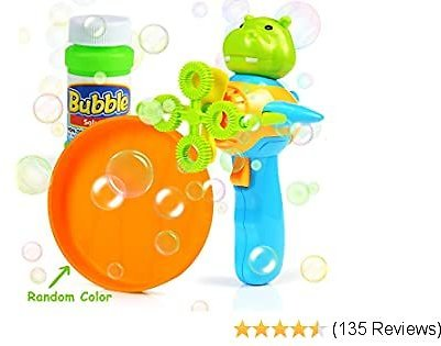 BENOKER Bubble Gun for Kids - Non-Toxic Bubble Blower with Bubble Solution - Mini Hand-Held Machine with 4 Wands for Blowing Bubbles - Bubble Toys for Parties, Camping, Outdoor Activities (Blue)