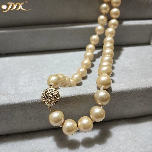 JYX Shell Pearl Necklace Jewelry 8-8.5mm Round Golden Color Sea Shell Pearl Necklace 18
