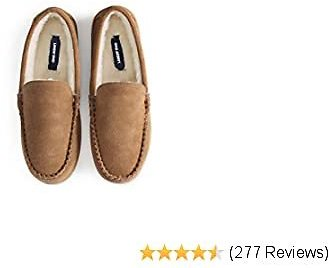Lands' End Men's Suede Leather Moccasin Slippers