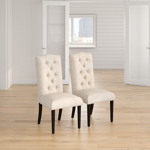 Dunnes Tufted Upholstered Parsons Chair in Beige
