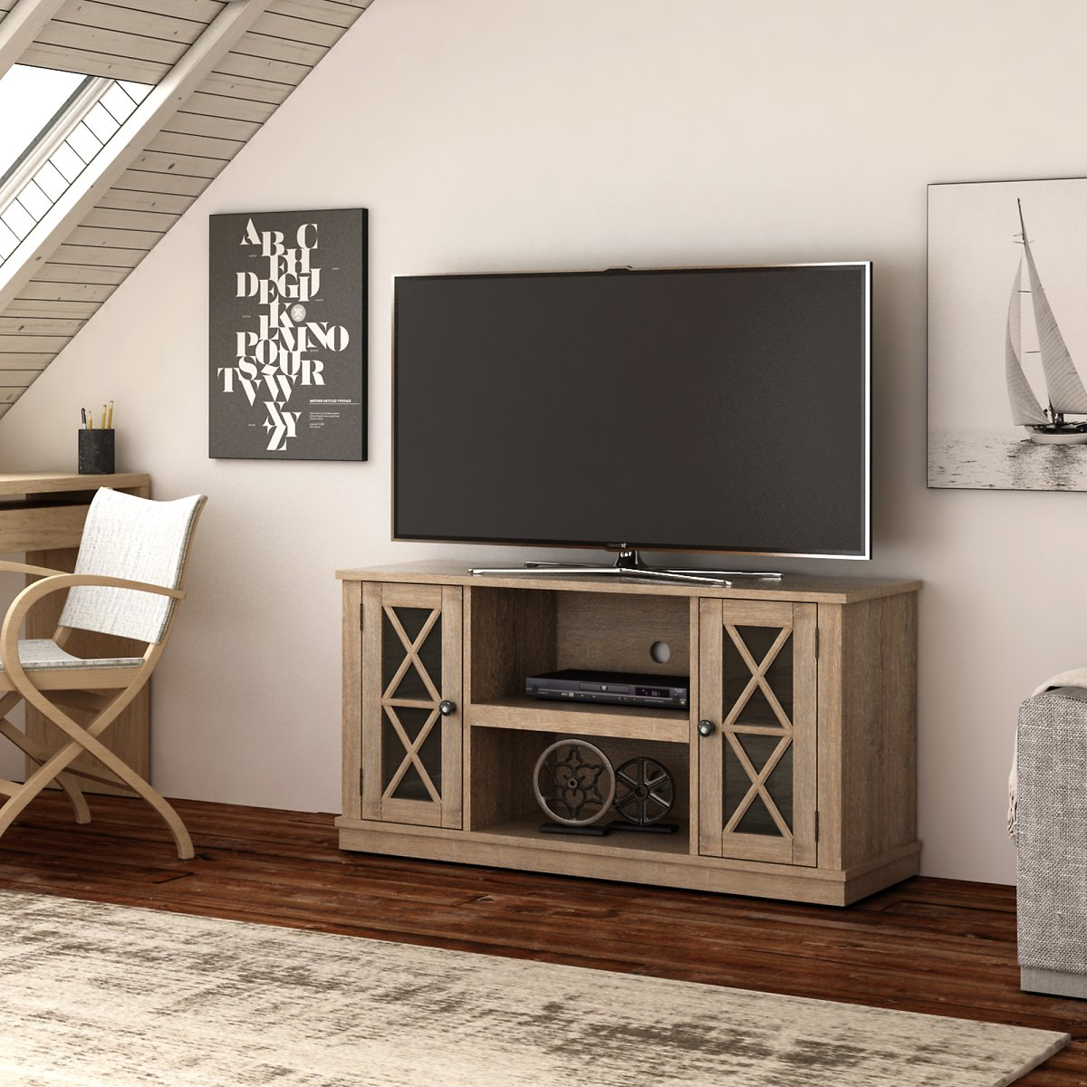 Twin Star Home Stanton Ridge ( Color,Natural $99.99 ) TV Stand for TVs up to 55