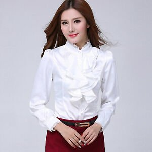 Elegant Women Slim Ruffle Stand-up Collar Business Formal Work Blouse Tops Shirt