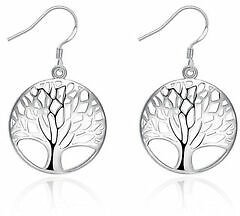 Fashion Charms Tree Party Silver 925 Cute Women Lady Earring Jewelry Hot Gift