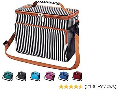 Leakproof ReInsulated Cooler Lunch Bag - Office Work School Picnic Hiking Beach Lunch Box Organizer with Adjustable Shoul