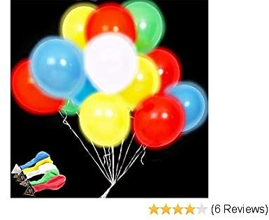 50 Pack Glow In The Dark Led Lighted Balloons