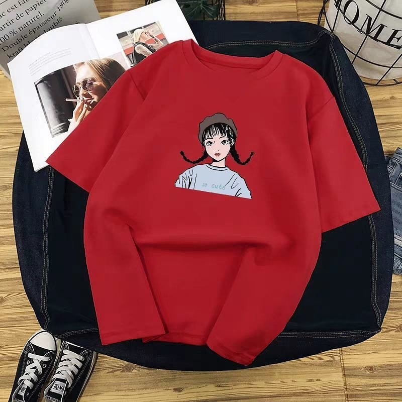 Printed T Shirt Women Summer Hot O Neck Tshirts Korean Aesthetic Cotton Tees for Ladies Ins Comfortable Female Tops