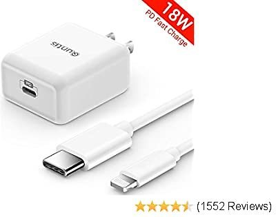 IPhone Fast Charger Apple Certified - Quntis 18W USB C Power Delivery Wall Charger Plug with 6FT C to Lightning Cable [MFi Certified] Type C Charger for IPhone SE 2020 11 Xs Max XR X 8 Plus IPad Pro