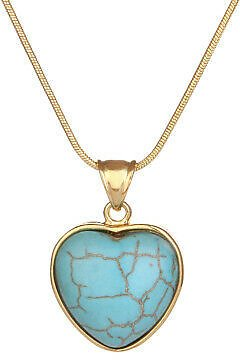 Women's Heart Turquoise Pendant Necklace 18K Yellow Gold Filled 18
