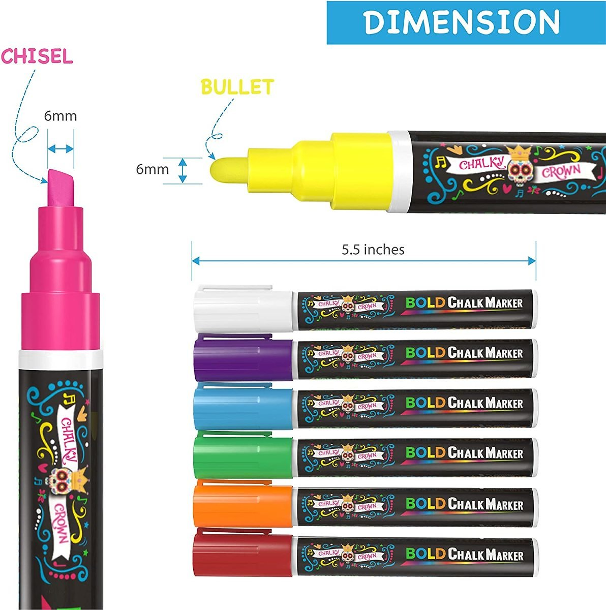 43% Discount - Liquid Chalk Markers for Blackboards, (8 Pack) - 24 Chalkboard Labels Included