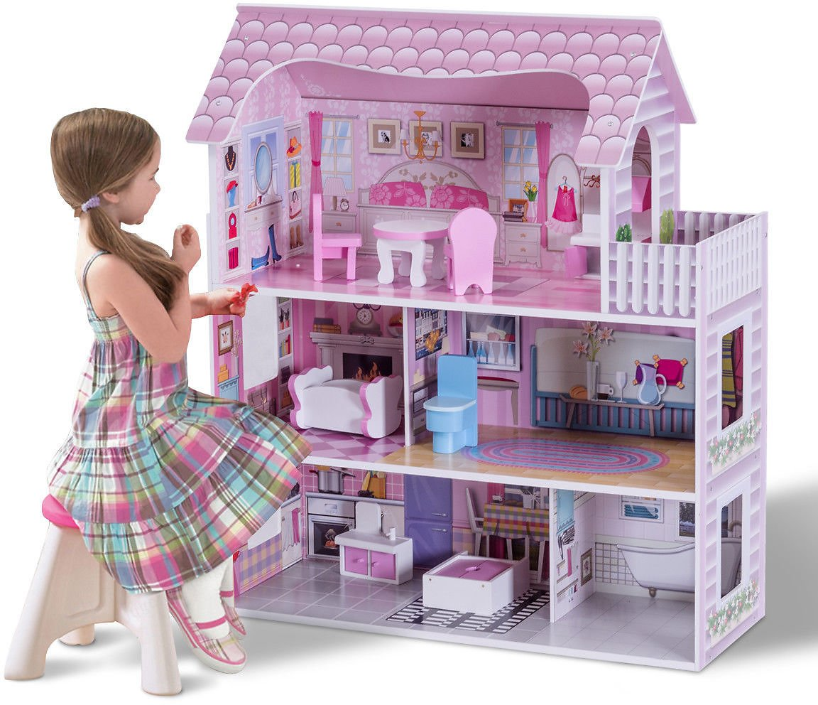 Gymax 28'' Pink Dollhouse w/ Furniture Gliding Elevator Rooms 3 Levels Young Girls Toy