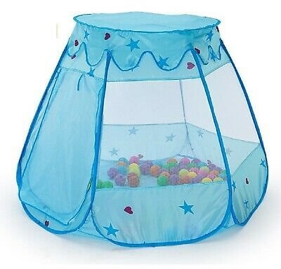 Children Kids Play Tents Pop Up Castle Party Birthday Playhouse Toys Blue