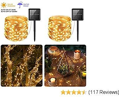 Solar Powered String Lights, PCJHSP 2 Pack 100 LED Solar Fairy Lights 33 Feet Waterproof 8 Modes Copper Wire Lights for Indoor/Outdoor Gardens Homes Wedding Holiday Party (Warm White)
