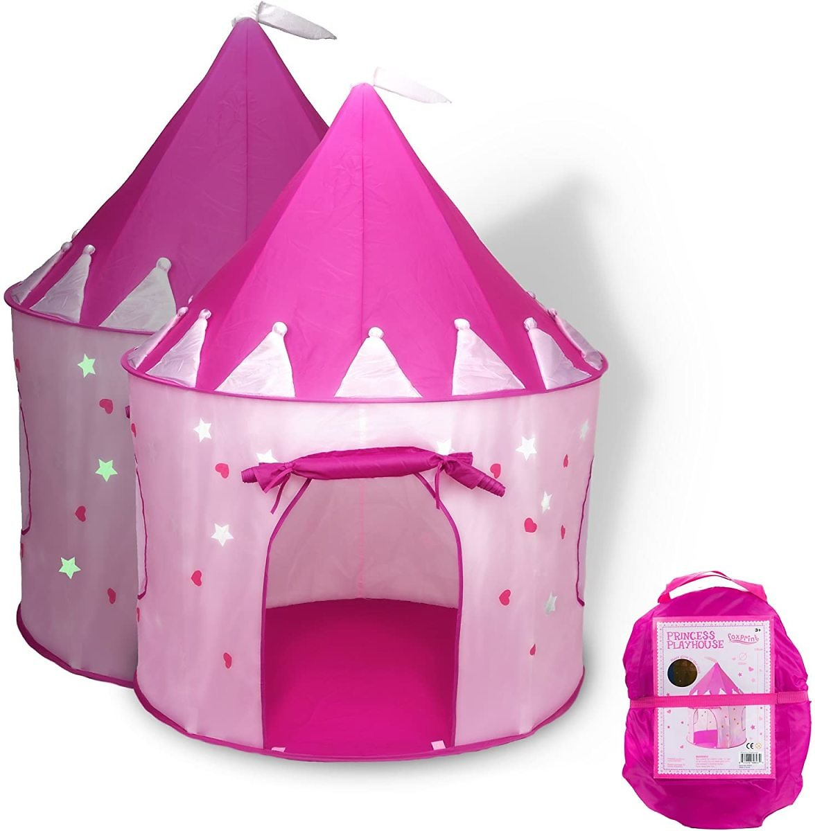 39% Discount - FoxPrint Princess Castle Play Tent with Glow in The Dark Stars, Foldable Pop Up Pink Play Tent/House Toy for Indo