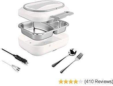 Electric Lunch Box - Toursion Dual Use Car/Truck and Work 110V & 12V-24V Portable Food Warmer Heater Deluxe Edition with Removable 304 Stainless Steel Container (Free Spoon & Fork)