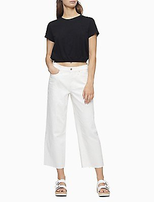 Straight Fit High Rise Wide Leg Cropped Jeans | Calvin Klein
