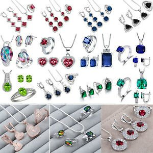 Women 925 Silver Sapphire Emerald Necklace Pendant Rings Earrings Jewellery Set