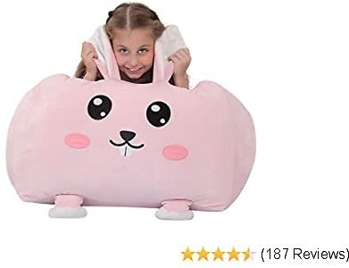 Youngeyee Stuffed Animal,Chair for Toddlers Girls, Giant Rabbit Bean Bag Cover, 24 Inches Velvet Toy Organization Storage Zipper Bags for Kids Bedroom Decor