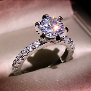 Luxury 1ct White Sapphire Wedding Ring 925 Silver Promise Engagement Jewelry