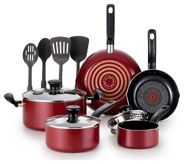 T-fal 12pc Simply Cook Red Cook Set