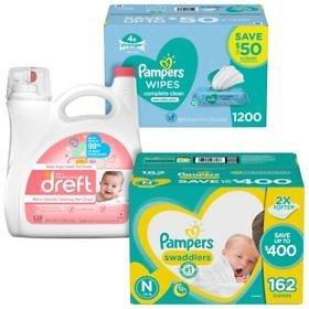 Pampers Swaddlers Diaper, Wipe & Dreft Bundle (Choose Your Size) - Sam's Club + Free Shipping