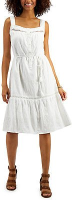 Style & Co Cotton Belted Tiered Dress, In Regular and Petite, Created for Macy's & Reviews - Dresses - Women