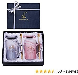 Jumway 1st Anniversary Gifts for Couple - 1st Wedding Anniversary Gifts for Her Him Couples Mr Mrs Mugs Est 2019 - Ceramic Marble Coffee Cups 14oz