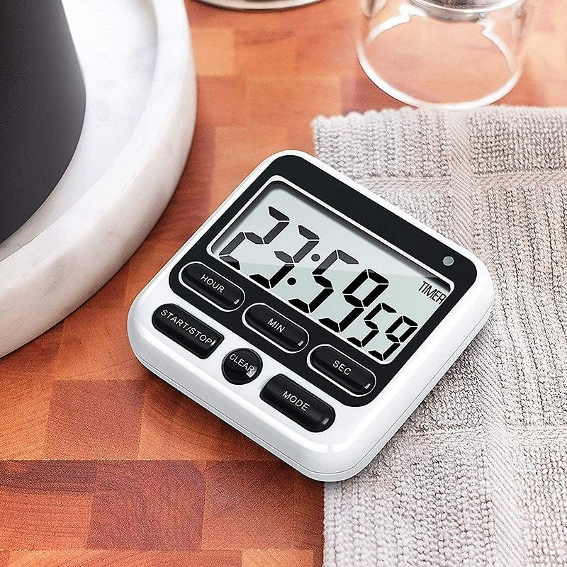 Digital Kitchen Timer with Mute/Loud Alarm Switch ON/OFF Switch, 12 Hour Clock & Alarm, Memory Function Count Up & Count Down Fo