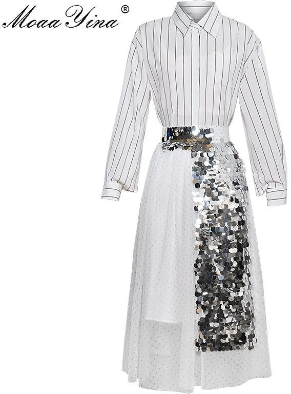 US $42.65 21% OFF|MoaaYina Fashion Designer Set Spring Summer Women Long Sleeve Stripe Shirt Tops+Mesh Sequin Skirt Two Piece Suit|Women's Sets| - AliExpress