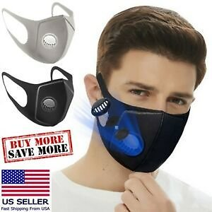 Reusable Washable Foam Sponge Face Mask Covering With Air Filter Breathing Valve